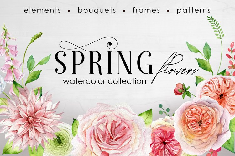 Watercolor Spring Flowers and Roses Clipart