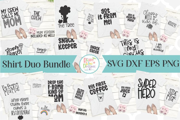 Mommy and Me SVG Shirt Duo SVG Bundle - Mummy and Me Bundle example image 1