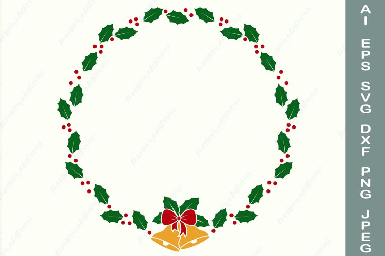 Christmas wreath with bell and bow svg, Holly frame dxf example image 1