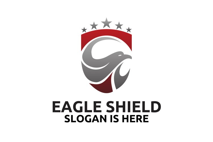 Head of the eagle on the shield logo design example image 1