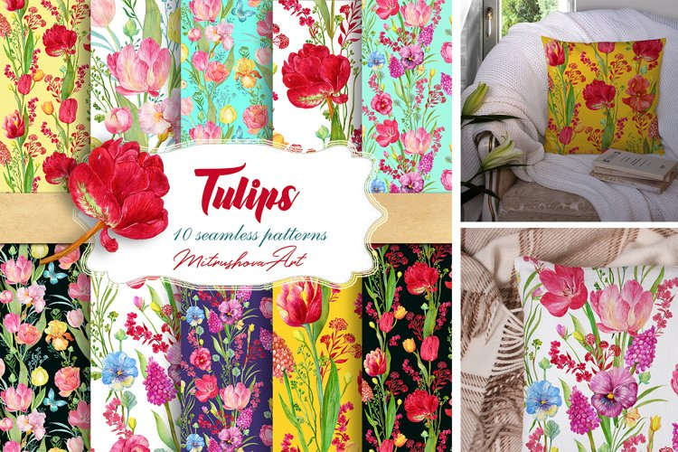 Tulips Seamless Patterns Watercolor example image 1