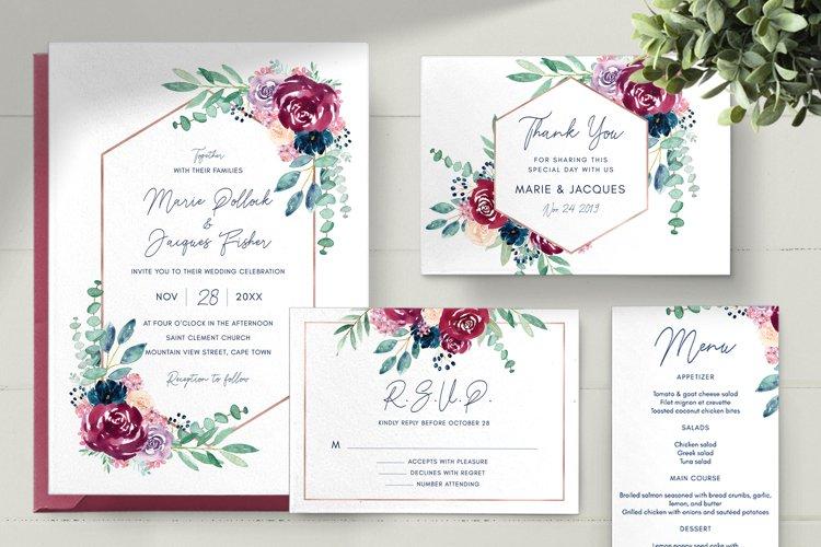 Burgundy and Navy Wedding Invitation Set example image 1