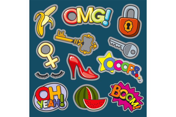 Fashion patch badges 80s-90s girl style vector set example image 1