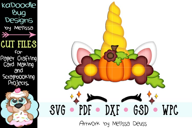 Fall Unicorn Face Cut File - SVG PDF DXF GSD WPC example image 1