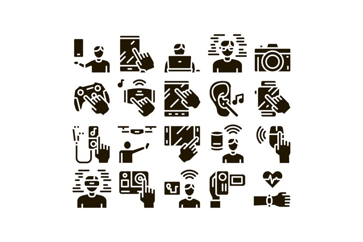 Gadget And Device Glyph Set Vector example image 1