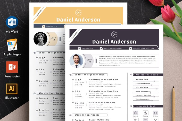 Resume Cv Template With Editable Word Apple Pages Format example image 1