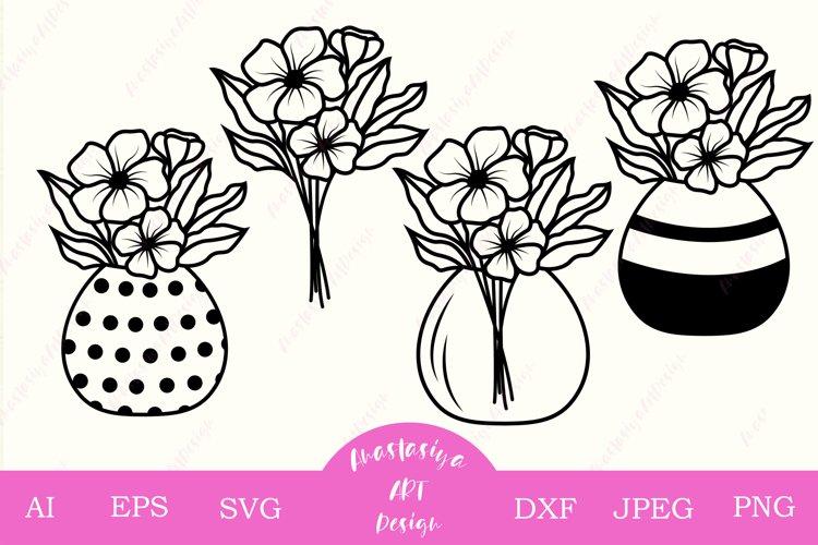 Mason jar with flower bouquet svg cut, Floral clip art dxf example image 1