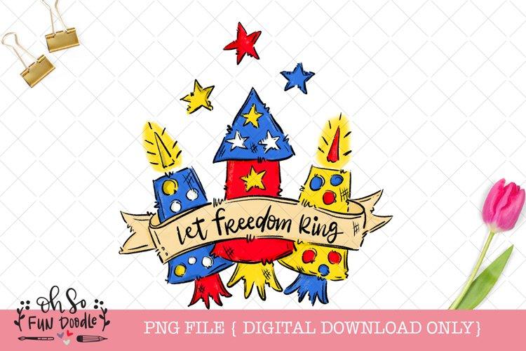 Let freedom ring, fireworks sublimation design example image 1