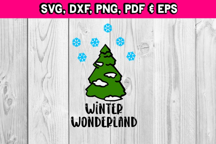Christmas Winter Wonderland tree with snow flakes svg files example image 1