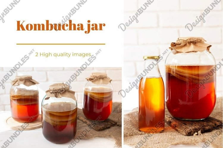 Kombucha tea bundle with glass jar and bottle