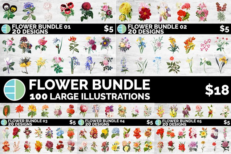 Flower Bundle Vintage Clipart