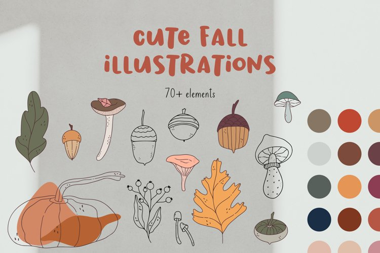 Cute doodle fall illustrations.