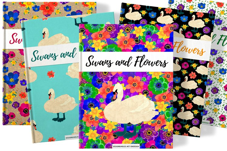 Swans and flowers - invitations, patterns and illustrations