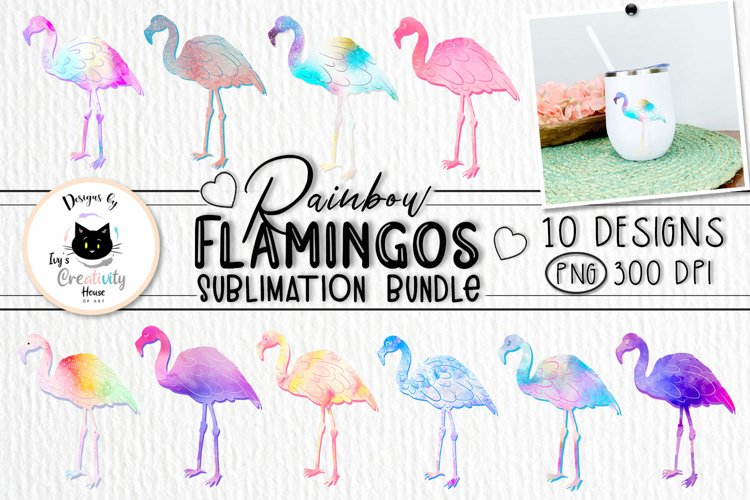 Watercolor Flamingo Sublimation Bundle   Summer Clipart