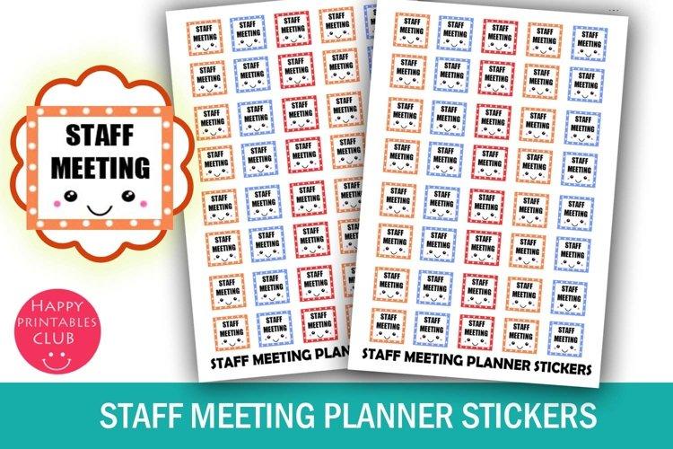 Staff Meeting Planner Stickers- School Staff Planner Sticker example image 1