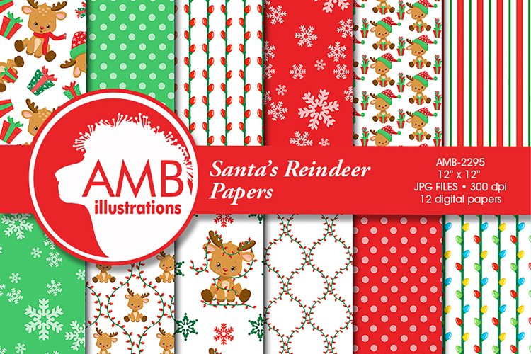 Santa's Reindeer Patterns, Christmas Papers, AMB-2295 example image 1