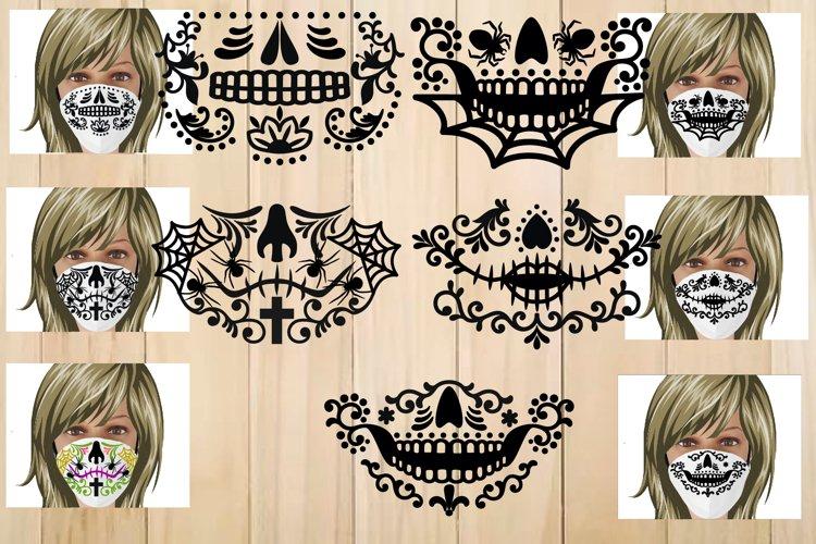 Sugar Skull Face Mask Template, Halloween Face Mask Svg