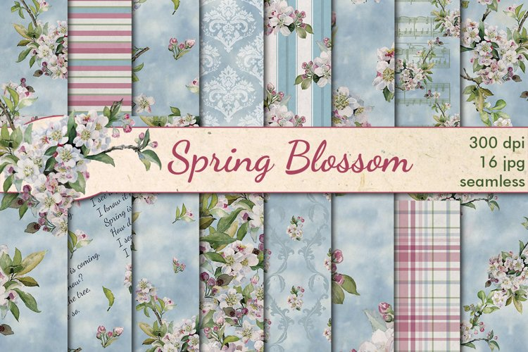 Spring blossom seamless patterns