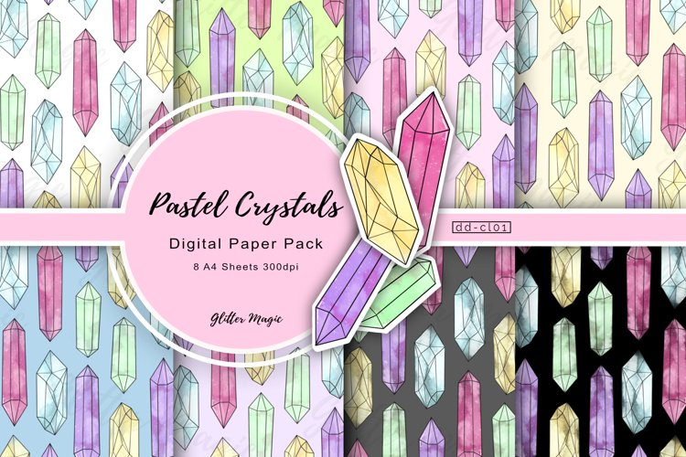 Pastel Stacked Crystal Gemstone Craft Papers 8 A4 Sheets