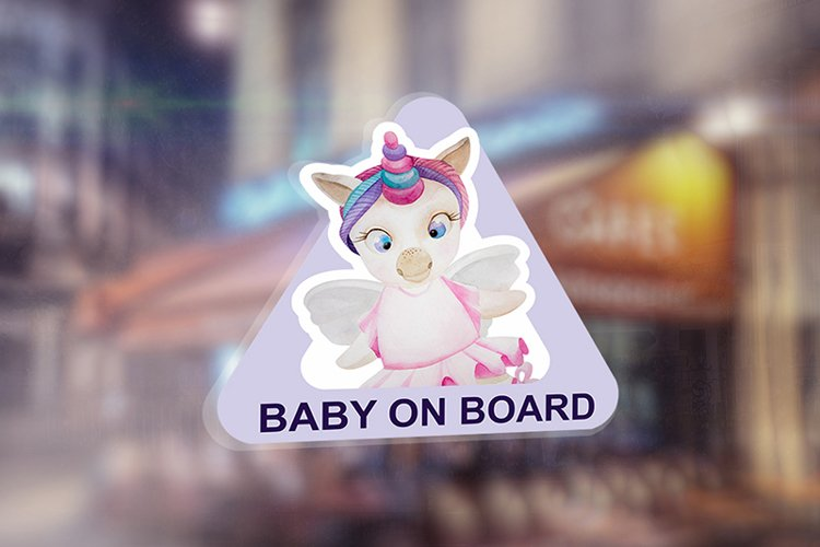 """The sticker on the car """"Baby on board"""" example image 1"""