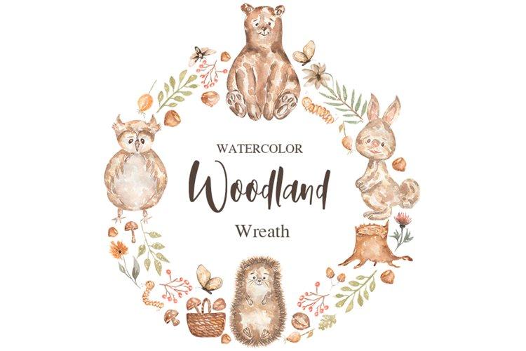 Watercolor Woodland Animals Wreath example image 1