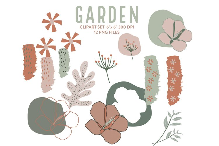 Garden clipart, botanical digital clip art set, 10 PNG file