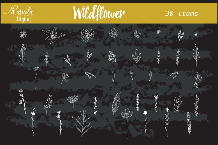Wedding wildflower Flowers Leaf Branches invitation clipart