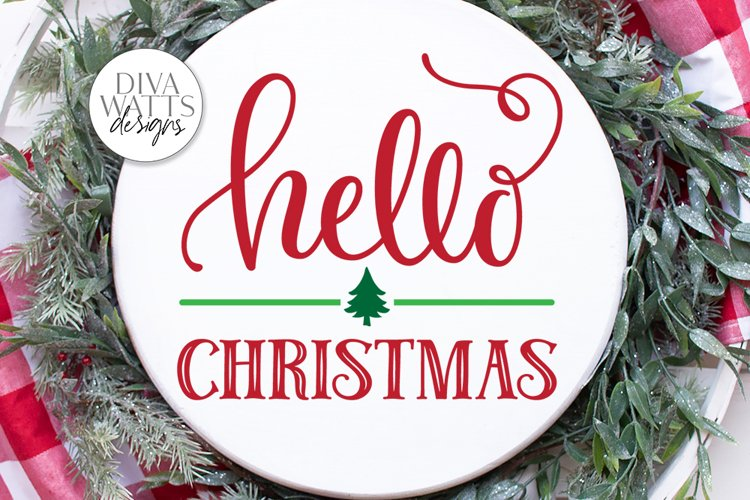 Hello Christmas SVG | Winter Sign | DXF and More example image 1
