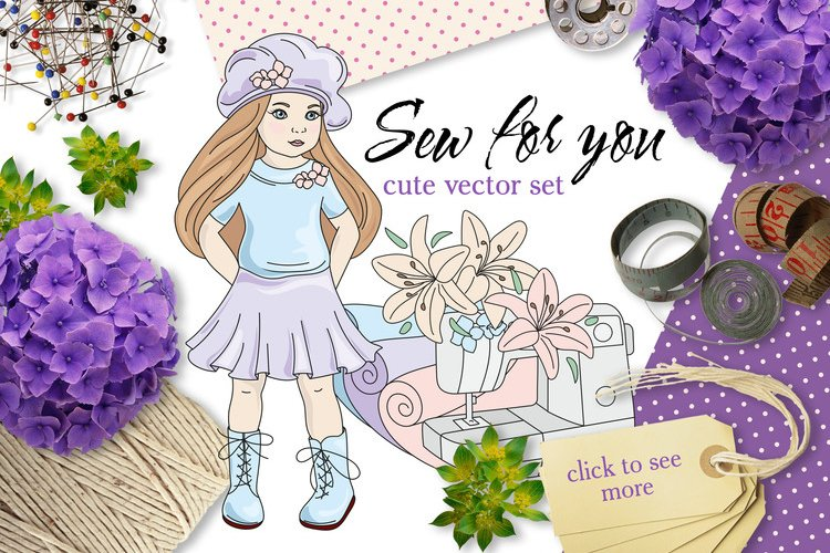 SEW FOR YOU Color Vector Illustration Set example image 1