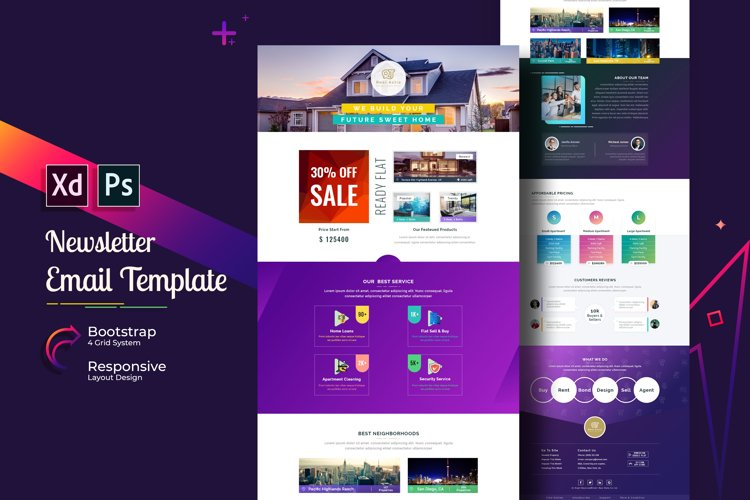 Email Newsletter Template In Adobe Xd Photoshop 176947 Email Design Bundles