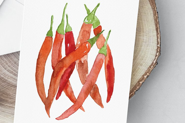Red hot chili peppers watercolor illustration example image 1