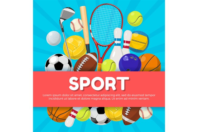 Sport poster design of different equipment on background and example image 1