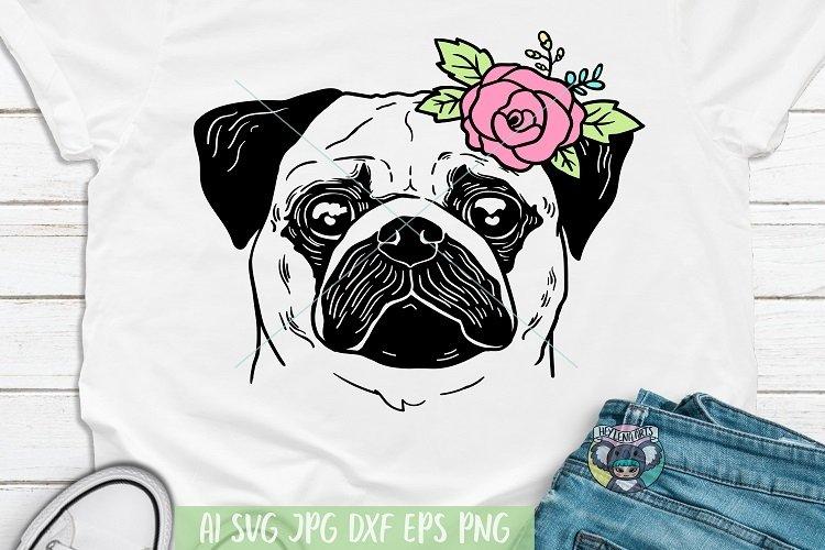 Pug svg, Pug Face, Dog Face, Floral, Dog Mom, Cricut File example image 1