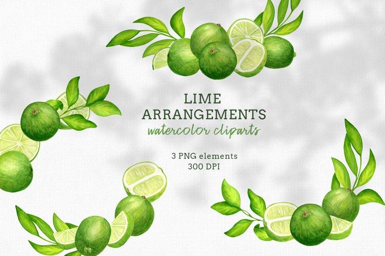 Watercolor Lime Arrangements clip art set example image 1
