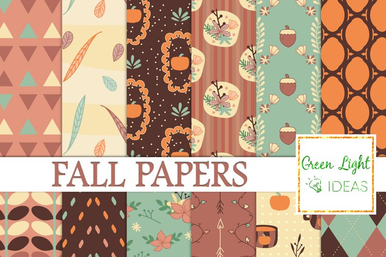 Fall Digital Papers, Pumpkins Backgrounds, Fall Floral Papers