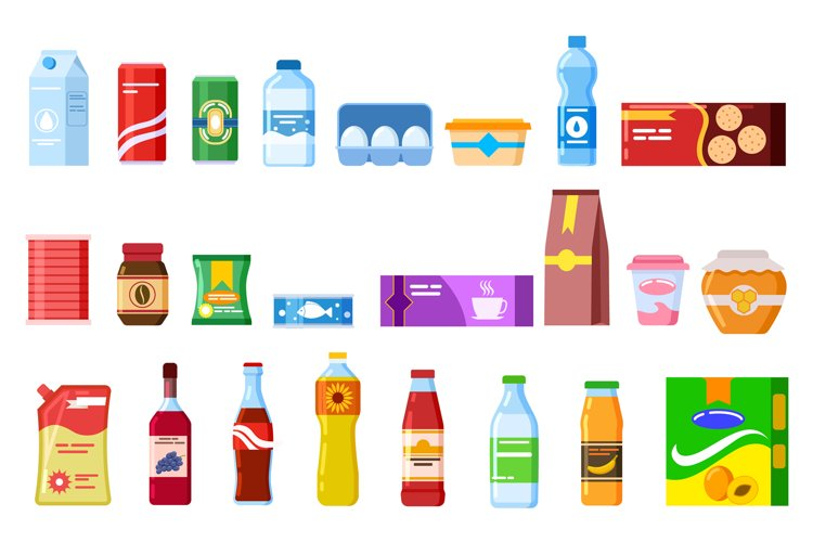 Snack products. Biscuit water juice biscuits cola ketchup yo example image 1