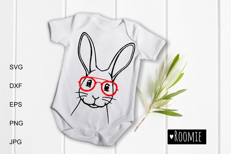 Rabbit face in glasses svg, Easter bunny Cut files Cricut example image 1