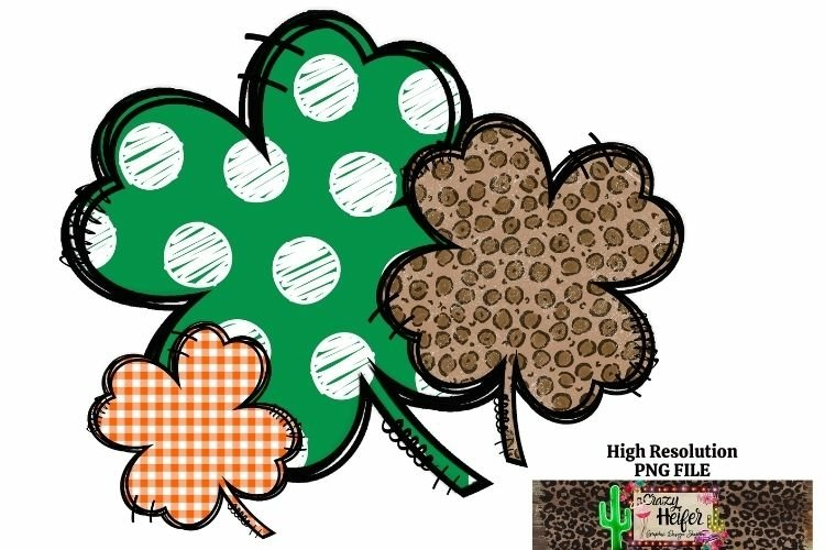 St Patrick's Day Shamrock 4 leaf clover Dye Sublimation PNG example image 1