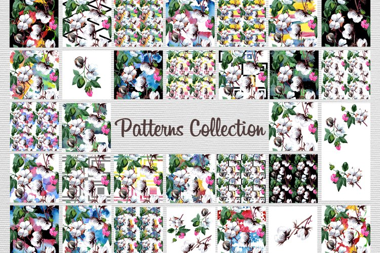 Cool cotton PNG watercolor set example 8