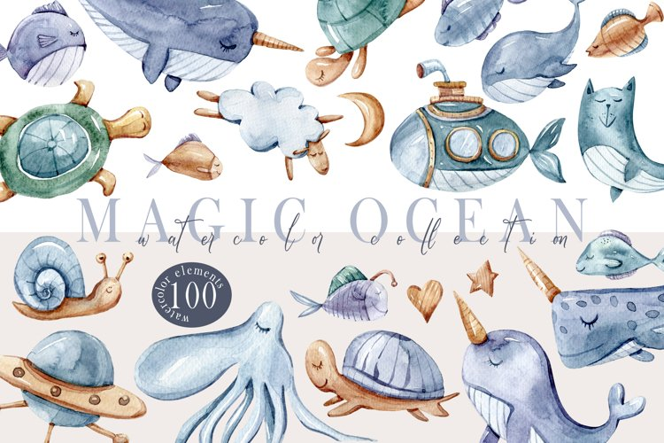Watercolor nautical nursery collection-clipart, patterns