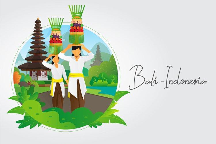 Balinese women carrying offering