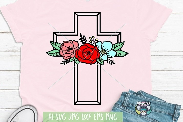 Happy Easter svg, Floral Cross svg, Jesus svg, Cricut File