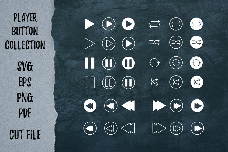 Player button collection | Cutting files | Playlist svg example image 1