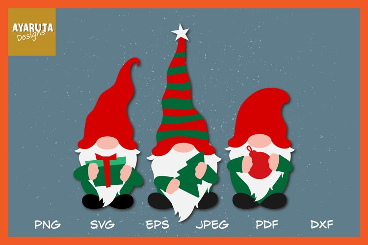 Christmas Gnomes Clipart SVG, Hygge Gnomes in Santa costumes example image 1