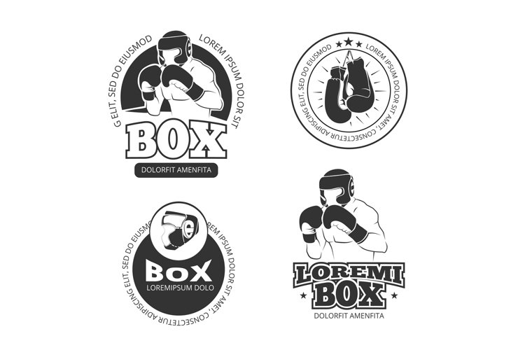 Boxing vector retro labels set example image 1