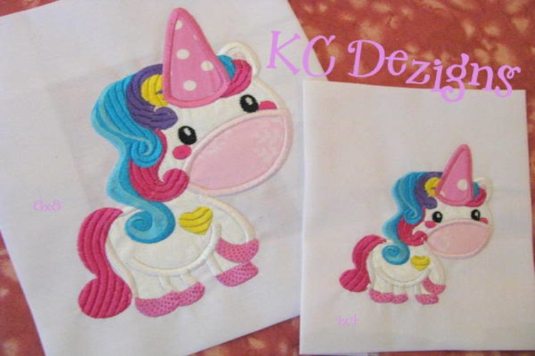 Cute Unicorn Machine Applique Embroidery Design