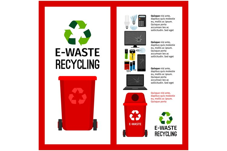 Garbage red container info with e-waste example image 1