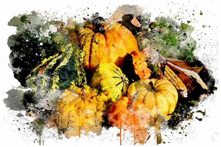 Watercolor Pumpkins Art Design, Sublimation PNG example image 1