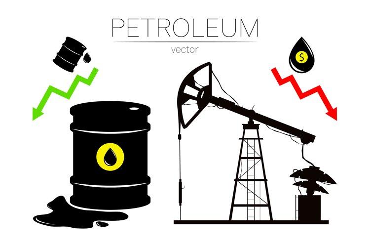 Vector set of 4sign oil and derrick rig. Symbol petroleum example image 1