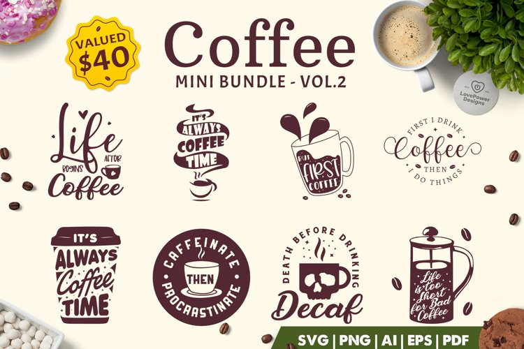 Coffee SVG Bundle | Coffee Bundle | Coffee Quotes Bundle V2 example image 1